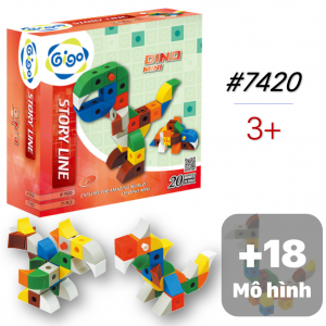 Bộ Xếp Hình Mini Khủng Long 20 Mô Hình 71 Miếng Ghép 7420 Gigo Toys