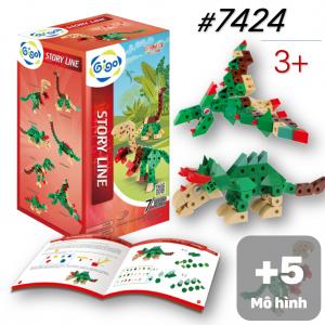 Bộ đồ chơi lắp ráp Công viên khủng long 7 mô hình 119 miếng ghép 7424 Gigo toys