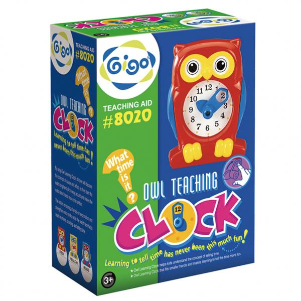 Hộp Gigo Toys Đồng Hồ Con Cú Dạy Đếm Giờ Màu Xanh 8020