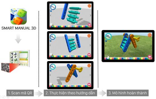 Bộ STEAM mầm non #1250 có kèm theo APP sử dụng trên điện thoại hỗ trợ lắp ráp bằng hình ảnh 3D