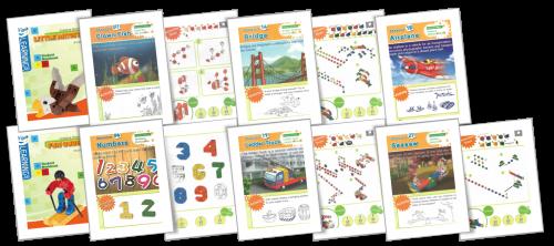Gói STEAM mầm non gồm 4 tập sách hướng dẫn (mỗi tập 30 trò chơi) với các level từ thấp đến cao