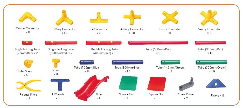 121 chi tiết Bộ Cầu Tuột Mầm Non lắp ráp bằng nhựa 10 kiểu 1139